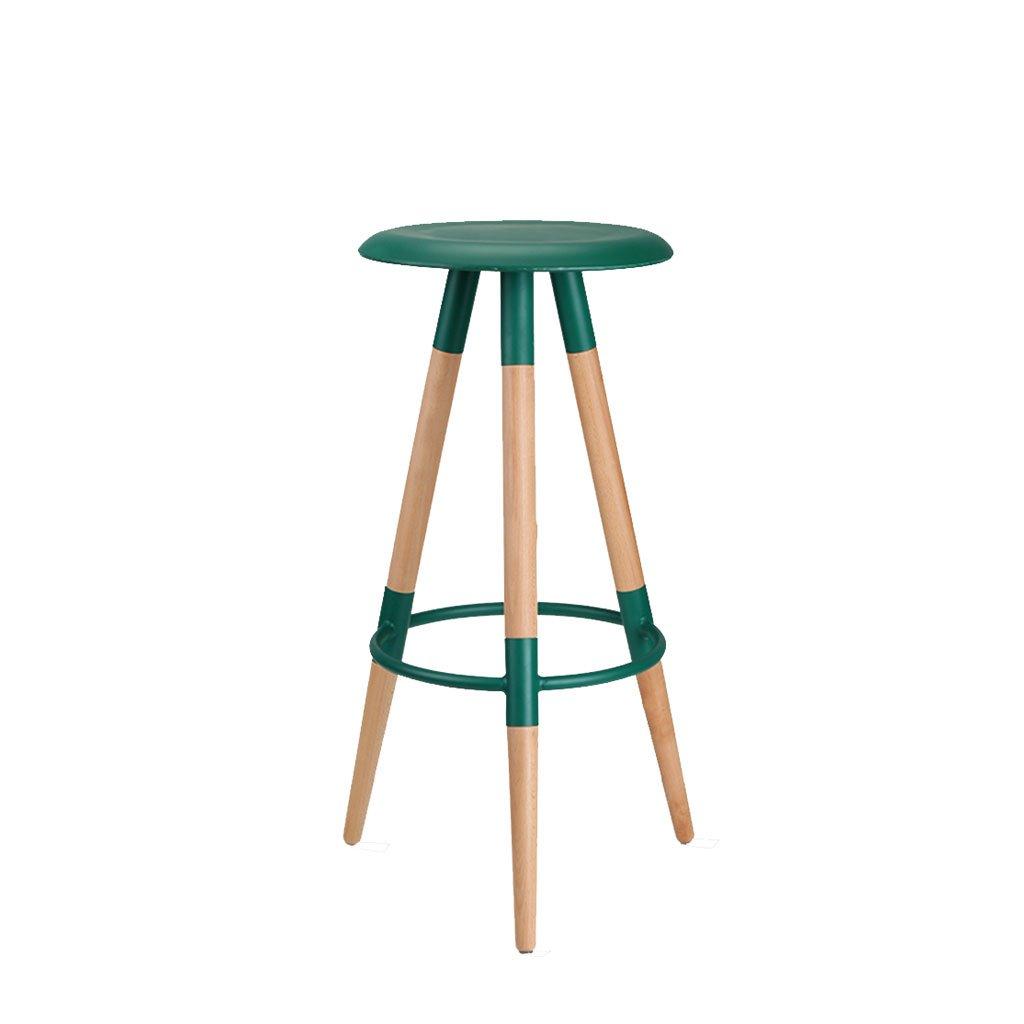 木製のバーチェアバースツールハイスツールシンプルでスタイリッシュなチェアバーチェアフットレスト3色オプション (色 : Emerald green) B07DN53JJR Emerald green Emerald green