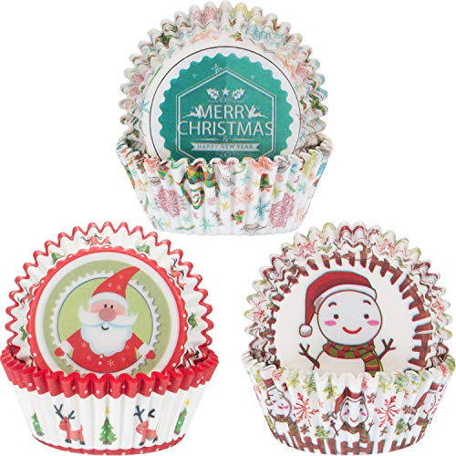 Blulu 300 Pieces Christmas Cupcake Liners Cupcake Wrappers Merry Xmas Santa Claus Snowman Paper Baking Cup for Christmas Party Baking Decor