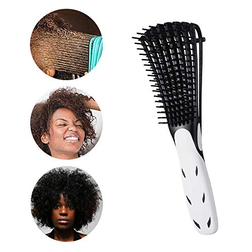 Detangling Brush for Natural Hair-Detangler for Afro Textured 3a to 4c Kinky Wavy, Detangle Easily with Wet,Coily Hair,Dry,Curly,Conditioner, Improve Hair Texture-Easy Clean (Black) (Best Conditioner For Dry Natural Black Hair)