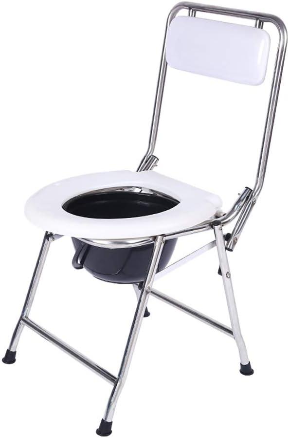 ビズアイ ステンレス鋼の高齢者障害者の椅子チェアベッドサイド浴室滑り止めフットパッドポータブル折りたたみホーム大人シャワー ベッドサイドトイレ (Color : B)