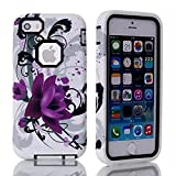 iPhone SE Cases iPhone5S/5 Case Joannastore 3in1 Shield Slim Hard Rugged Bumper Shockproof Protective Back Rubber with DualLayer Impact Protection Defender Cover for Apple iPhone5/5S/SE(LOTUS BLACK)