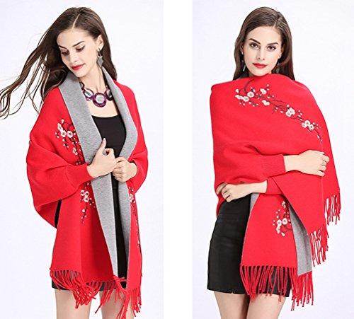 Chal Mujeres De Para Gris Mujer Punto Rojo Suéter Abrigo Pañuelos Bordados Del Creativo Cárdigan WanYang De OYp0qTwW