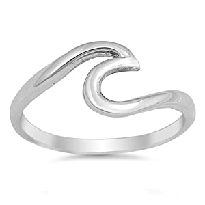 Wave Polished Cute Fashion Ring New .925 Sterling Silver Toe Band Size 7 (RNG15986-7)