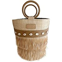 Bolsa Bucket Grande de Palha com Franjas e Aplicação de Conchinhas