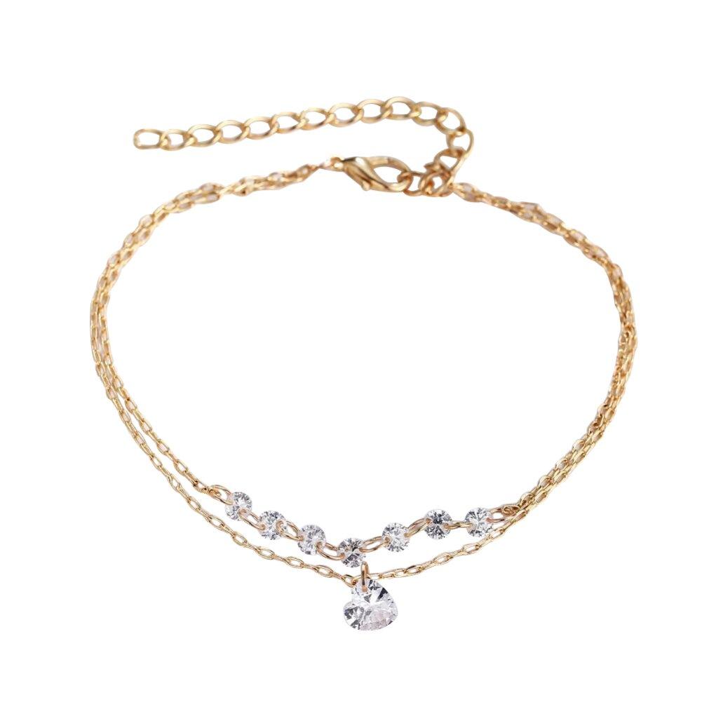 Fashion Double Layer Heart Rhinestone Bracelet Women Engagement Wedding Jewelry