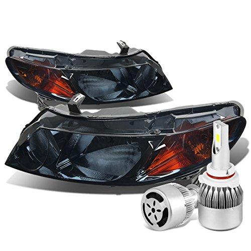 For Honda Civic 8th Gen 4DR Sedan Pair of Smoked Lens Amber Corner Headlight + 9006 LED Conversion Kit W/Fan