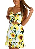 CANIKAT Womens Summer Bohemian Floral Print Sleeveless Spaghetti Strap Tie Front Ruffle Hem Casual Beach Mini Dress S Yellow