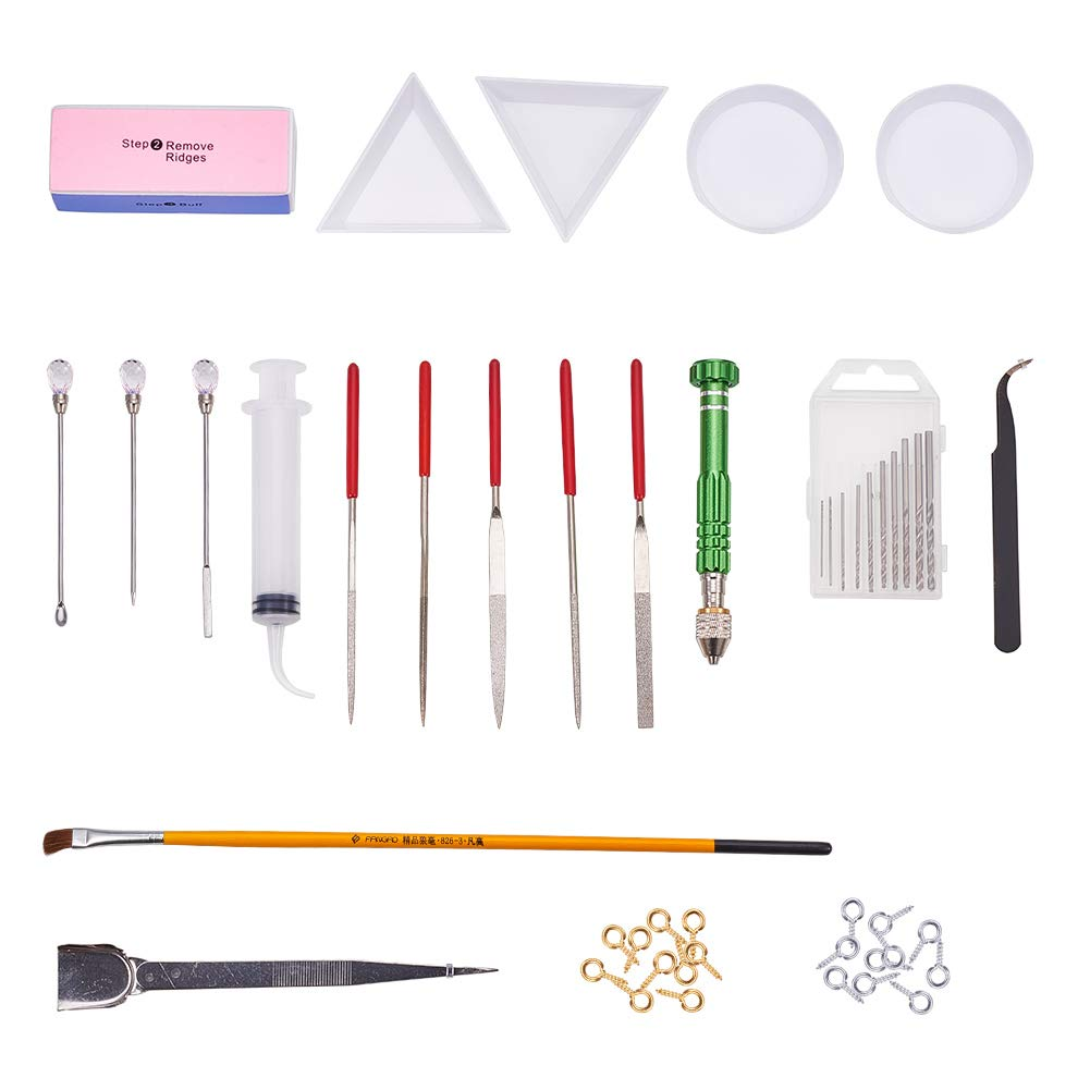 PH PandaHall Resin Casting Molds Tools Set Include 4PCS Silicone Molds, Stirrers, Tweezers, Display Tray, Hand Twist Drill and Screw Eye Pins for Pendant Jewelry Making wh-DIY-PH0019-42
