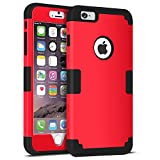 iPhone 6S Plus Case, iPhone 6 Plus Case, BENTOBEN Heavy Duty Drop Protection Shockproof 3 in 1 Hybrid Hard PC Covers Soft Silicone Bumper Full Body Protective Case for iPhone 6 Plus / 6S Plus (5.5 Inch) - Red and Black