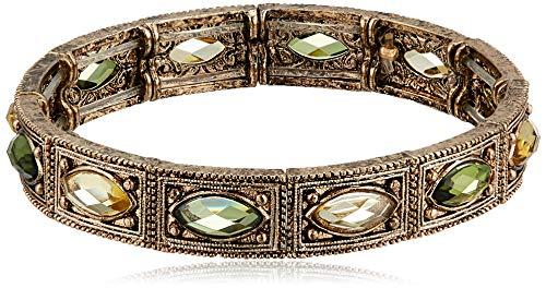 1928 Jewelry Brass Peridot Jonquil Stretch Bracelet
