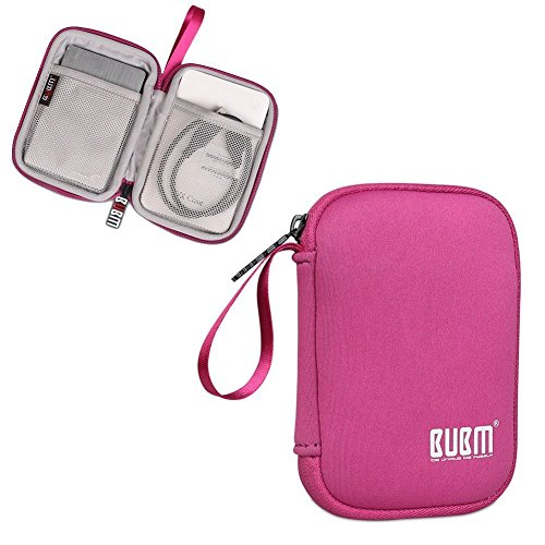 (External Hard Drive Case, BUBM Soft Carrying Travel Case for 2.5-Inch Portable External Hard Drive/Portable Hard Drive Protection Box Case/Electronics Travel Organizer/Cable Bag-Rose Red)