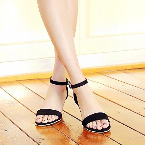 Black Womens Strap Chic Open Elegance Ankle Heel Sandals Buckle Carolbar High Toe Stiletto n7xqZgg