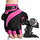 Cycle Gloves – Half Finger Light Pad Gloves For Riding Weightlifting Cycling And More – Women and Men Sporting Gloves (Pink/Black, Small)