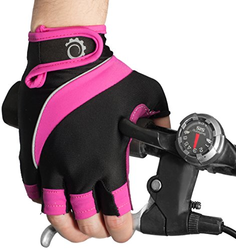 GearTOP Cycling Gloves - Half Finger Light Pad Protection For Riding Weightlifting Cycling And More - Women and Men Sporting Glove (Pink/Black, Medium)