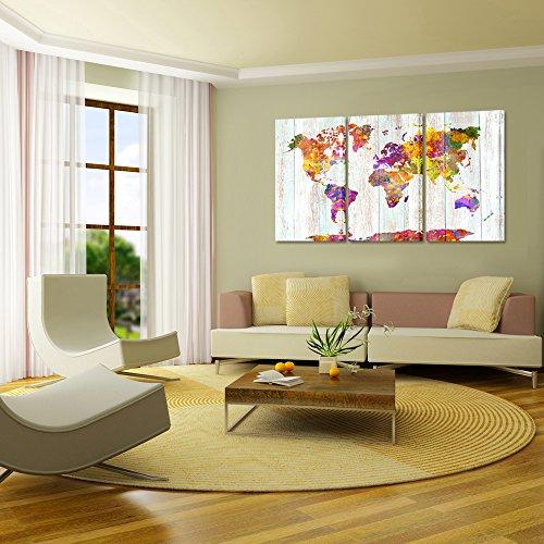 Kreative Arts – Large Size Canvas Prints Wall Art Watercolor Push Pin Travel World Map Modern Wall Decor Stretched…