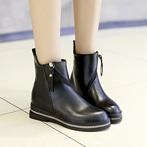 Cybling Mode Svart Låga Klackar Dragkedja Tossor För Kvinnor Klär Kort Walking Boots Svart