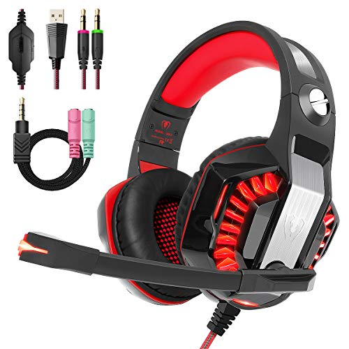 Beexcellent Gaming Headset for PS4 Xbox One PC, 2019 Upgraded Over Ear PS4 Headset with Stereo Surround Sound, LED Light, Noise-Isolation Microphone for Mac Laptop