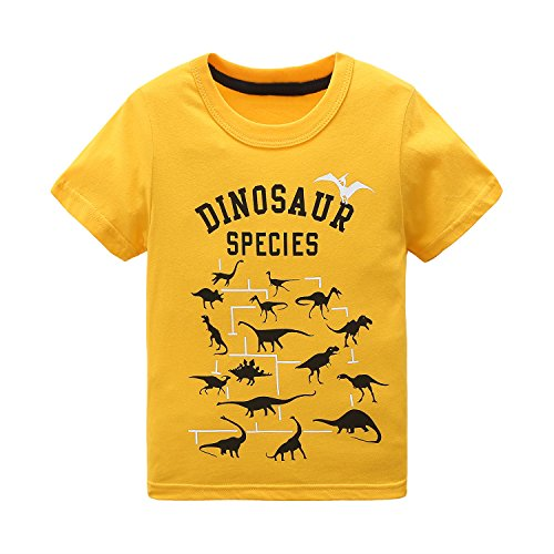 Boys Short Sleeve Cotton T-Shirt T Rex Dinosaur Shirt Graphic Tees Yellow ()
