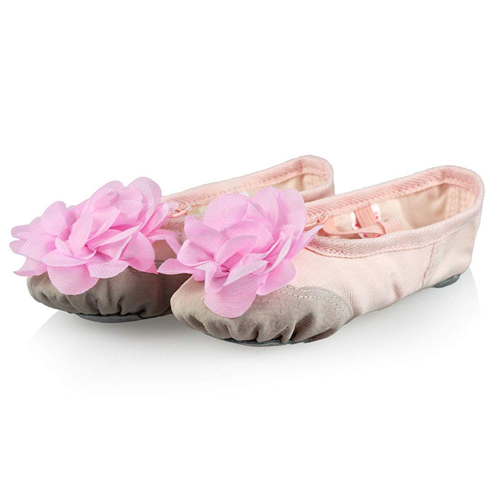Skin+pink Peony 3 M US Little Kid Girls Floral Canvas Ballet Slipper Split Leather Soles Yoga Dance shoes (Toddler Little Kid Big Kid Women)