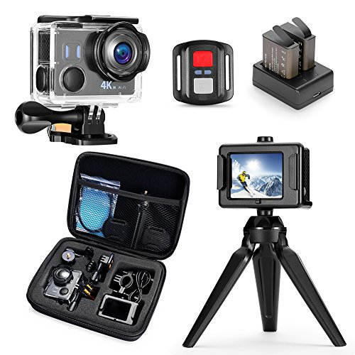 Darkeep 4K Action Camera WiFi Touch Screen Anti Shake 14MP 4K/30fps Sports Camera Waterproof Sony Sensor 170 ° Fisheye Lens with Remote Control Backup Battery and Portable Package