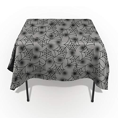 Rectangle Tablecloth - 60 x 120 Inch - Halloween Gray Spider Web Rectangular Polyester Table Cloth Table Covers Linen Decor - Great for Kitchen Table, Parties, Holiday Dinner, Wedding & More ()