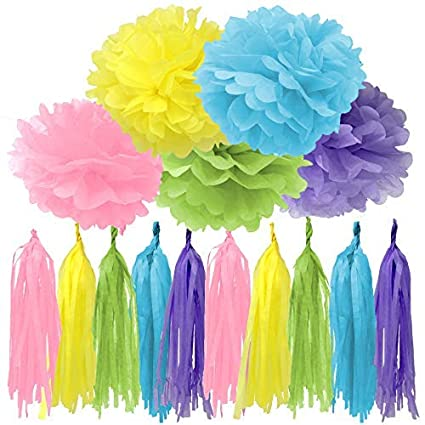 Bobee 30 Piece Pastel Rainbow Party Decorations DIY Paper Pom Poms And Tissue Tassels In Pink