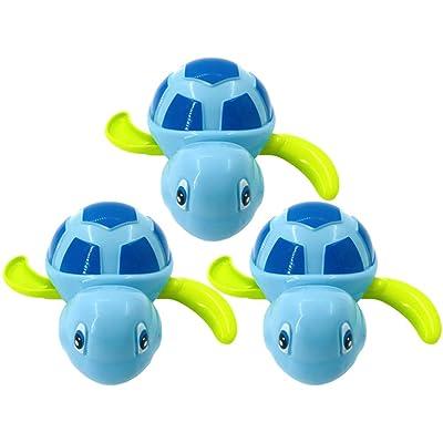 FUNZZY Tortoise Bathing Toys Bathing Time Wind-up Toys Shower Clockwork Toys Water Tub Floating Toy for Bathing 3Pcs (Blue) : Baby