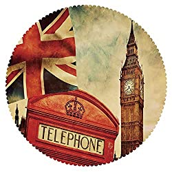 iPrint Funky Round Tablecloth [ London,Vintage Style Symbols of London with National Flag UK Great Britain Old Clock Tower Decorative,Multicolor ] Home Accessories Set