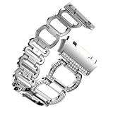 Lisin Luxurious Accessory Stainless Steel Strap Crystal Diamond Bracelet For Fitbit Ionic (Sliver)