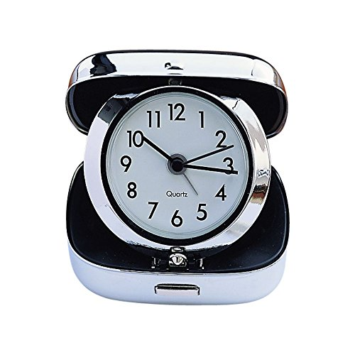 Square Chrome Plated Clock - Creative Gifts International 003214 2.5 in. Square Chrome Plated Travel Alarm Clock