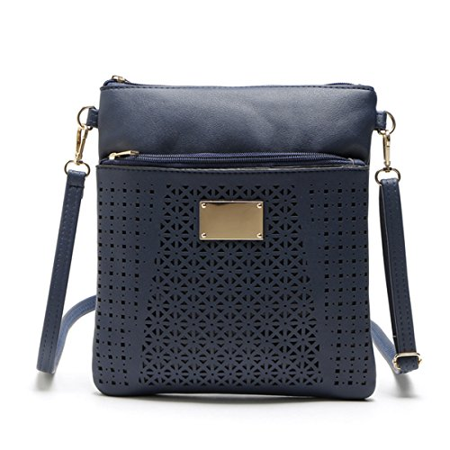 Messenger Bags Hollow Leather Small Body Handbags Casual Smilecoco Bags Shoulder Purse Navy Cross g4Cqxnwxv