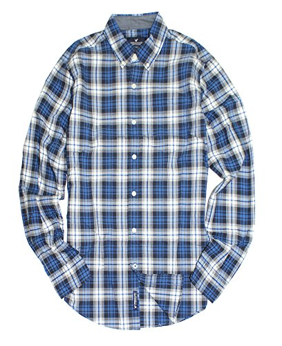 American Eagle Men's Seriously Soft Button Down Print Shirt (Small, 410 blue Plaid)