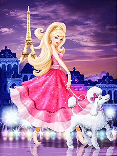 Full Drill Diamond Painting Barbie Princess by Number Kits,5D DIY Diamond Embroidery Crystal Rhinestone Cross Stitch Mosaic Paintings Arts Craft for Home Wall Decor(12X16inch/30X40CM)