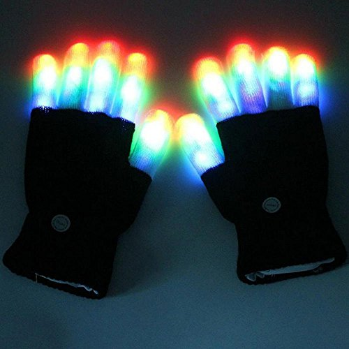 Yhsatpow 7 colors light show LED Gloves Rave Light Finger Lighting Flashing Glow Mittens (whole finger)