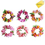 CoolDi 24PCS colorful Tropical Luau Hawaiian leis Flowers Headband Headpiece Necklaces for Party Supplies,Birthday Party Favors,wedding,Easter Decorations