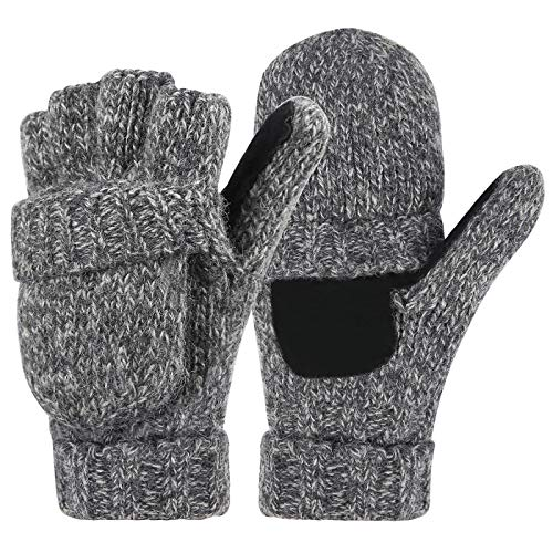 HDE Womens Winter Wool Fingerless Mittens | Warm Convertible Gloves Mitten Cover