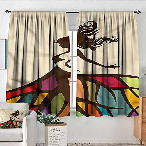 familytaste Youth,Backout Curtain Woman Colorful Skirt Art 104