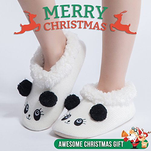 Maamgique Femmes Floue Noël Animal Maison Pantoufles Dames Mignonne Chambre Intérieure Tricot Hiver Pantoufles Panda