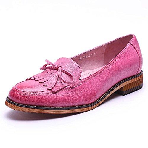 Mona Volant Femmes En Cuir Slip-on Mocassins Chaussures Pour Femmes À La Main Original Lady Chaussures Plates Rose
