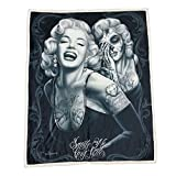 Marilyn Monroe High Defenition Super Soft Plush Micro Sherpa Blanket 50x60 Inches - Smile Now Cry Later