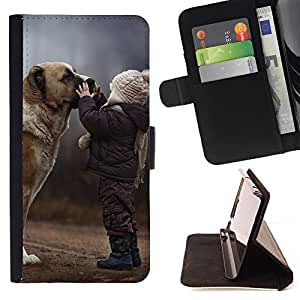 Devil Case- Estilo PU billetera de cuero del soporte del tir¨®n [solapa de cierre] Cubierta FOR Apple iPhone 4 4S 4G- Dog Cute Puppy Pet Paws