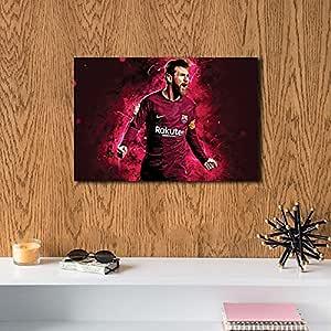 لوحة ليو ميسي برشلونة خشب ام دي اف مقاس 60x40 سنتيمتر من هوليجانز