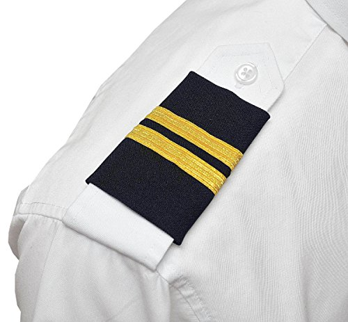 Aero Phoenix Professional Pilot Uniform Epaulets - Two Bars - Gold Metallic on Dark Navy ()
