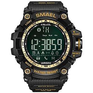SMAEL Deporte Smartwatch, 50 Metros / 164.04ft Natación Deporte Impermeable A Prueba De Golpes Relojes Estilo Ejército Verde Bluetooth Connect Hombres ...