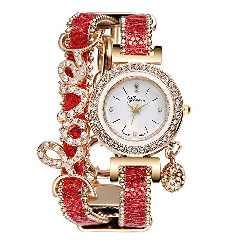 (Muranba 2019 ! Fashion Women's Lover Multilaminate Rhinestone Band Analog Alloy Quartz Watch (Red))