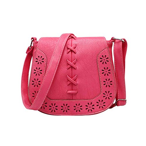 Messenger Bags Shoulder Watermelon Hrph Out Handbags Hollow PU Bag Women Red Leather Purse Crossbody Tassel Saddle Owqw54