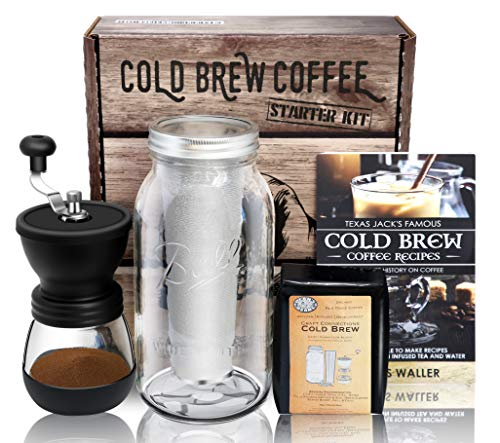 Cold Brew Coffee Maker Starter Kit – Half Gal Mason Jar Stainless Filter Basket Ceramic Burr Coffee Grinder Half Pound Certified Organic Whole Bean Cold Brew Coffee Blend Recipe Instruction Book