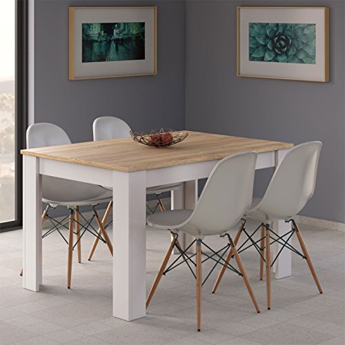 Habitdesign 0F4586 - Mesa de Comedor Extensible de 140 a 190cm, Mesa Salon Color Blanco