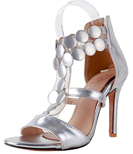 Mode Stable Argent Fille Femme Eclair Sandales Stiletto Aisun Fermeture zawqqX