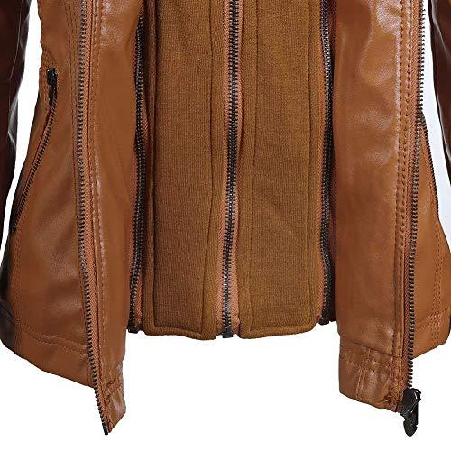 Puro Casual Di Moda Manica Fashion Incappucciato Lunga Braun Colore Donna Primaverile Stlie Adattamento Moto Giubbino Grazioso Morbidi Jacket Biker Giubbotto Outwear Outerwear Autunno zwn6q4nX